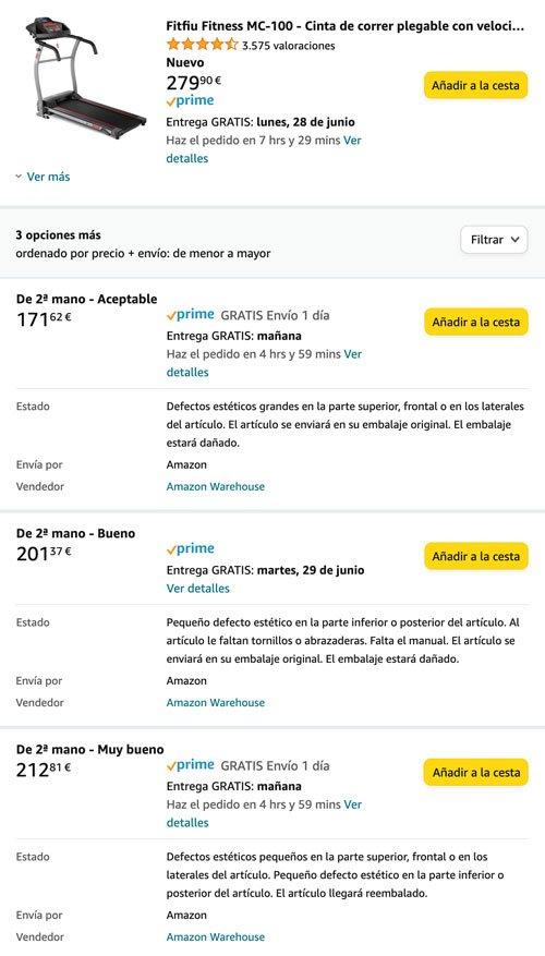 varias ofertas de un producto de segunda mano en Amazon
